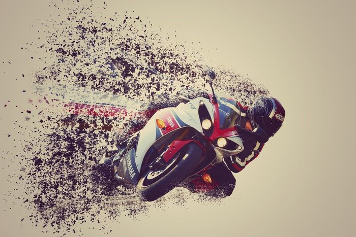 Photoshop Disintegration Motorcycle Motorbike Hypersport Curve