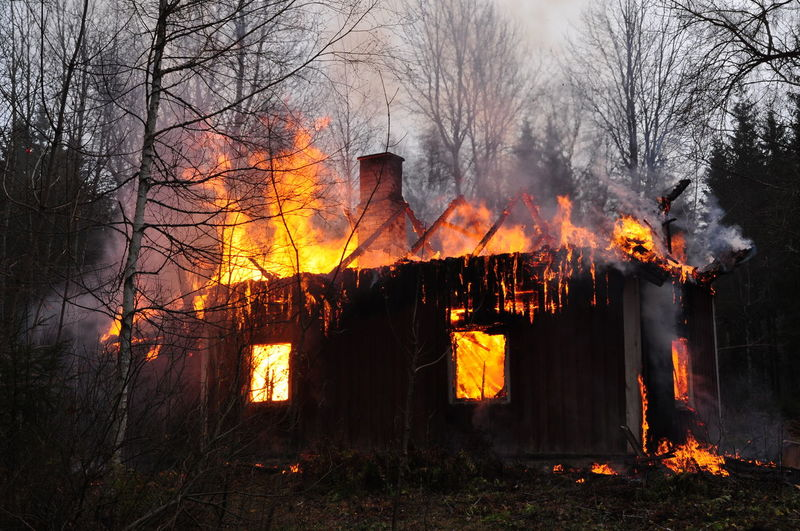 The burning house Burning Flame Forest Heat - Temperature House Burning Down No People Smoke - Physical Structure Tree