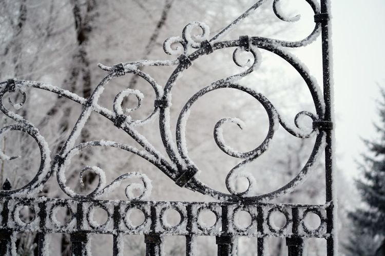 High angle view of chain on snow