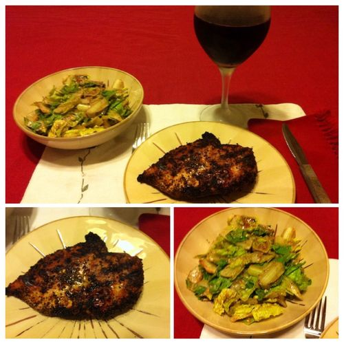 Tonight I grilled boneless, skinless chicken breasts. Served with a salad and a glass of my homemade 2012 Italian Barbera wine. ICanCookMyAssOff Nomnombomb TheExpensiveWinos MyFoodPics