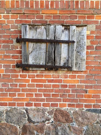 Brick Wall Wall - Building Feature Building Exterior No People Masonry Full Frame old weathered Wooden Shutters Brandenburg Countryside Village Backgrounds house Uckermark