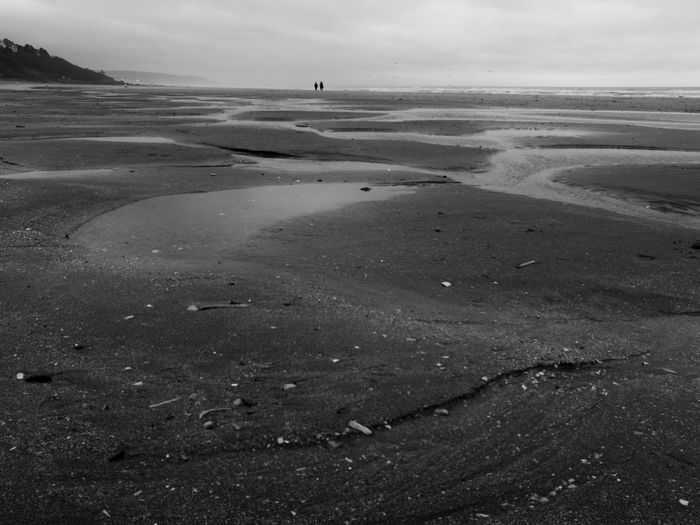 Alone Couple Minimalism Silhouette Contrast Deauville Blackandwhite Beach Sand Sea Landscape Travel Destinations Outdoors Nature Tranquility Beauty In Nature Low Tide Horizon Over Water Water