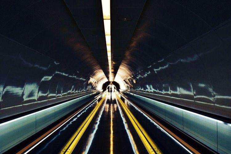 Girl Walking In Underground Metro