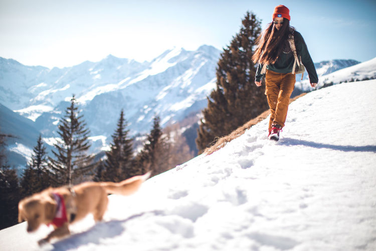 That dogs name is Django ... He loves being in the mountains and he makes every trip just even better! Animal Cold Discovery Dog Friend Girl Hiking Hot Italy Landscape Mountain Mountain Range Nature Outdoors Snow Sun Travel Winter