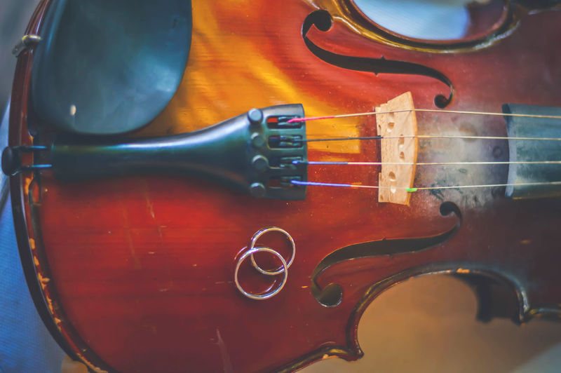 Close-up of wedding rings on violin