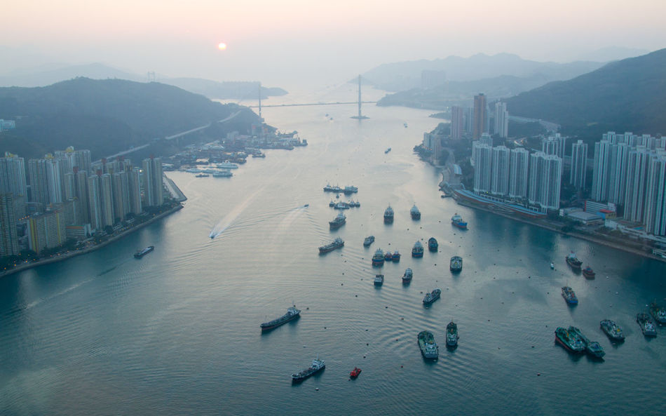 View from hotel in Hong Kong Architecture Beach Building Exterior Built Structure High Angle View Hong Kong L'hotel Nina Et Convention Centre Mountain Sea Sky Travel Travel Travel Photography Tsuen Wan Water