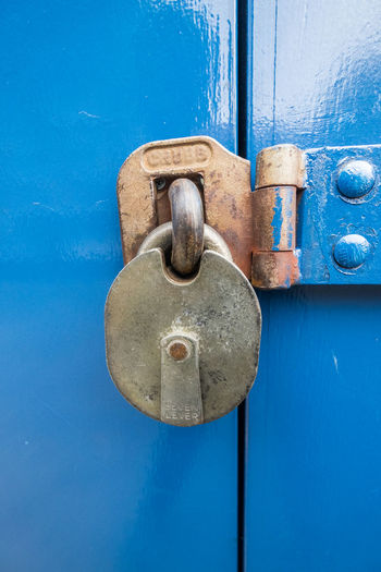 Blue Lock Blue Close-up Day Door Extreme Close Up Hinge Latch Lock Metal No People Protection Safety Security Wood - Material