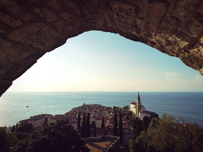 Piran/Pirano Slovenia Architecture Sea Arch Horizon Over Water History Water Fort Travel Destinations Old Ruin Outdoors Sky