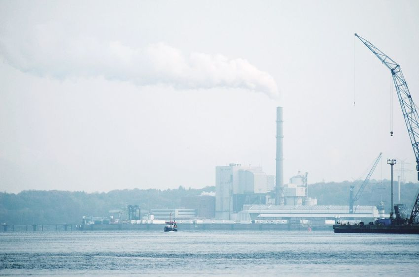 Miles Away Kiel Northgermany Foggy Day Harbor Seaport Industry Tourism Sea City Life Urban Sky_collection City_collection Vapor Trail Smoke - Physical Structure Air Pollution Seascape Transportation Tranquility Urban Exploration Industrial Photography Schleswig-Holstein