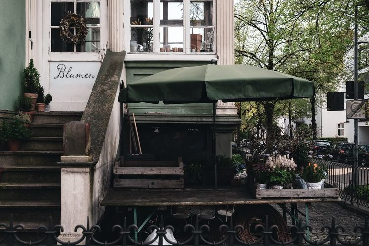 Urban Perspectives Architectural Detail Street Photography Flower The Shop Around The Corner Steps Built Structure Architecture Building Exterior Plant Communication Text Day No People Tree Building Western Script Outdoors Nature Wood - Material Window House Non-western Script Table City Urban Photography The Street Photographer - 2019 EyeEm Awards My Best Photo