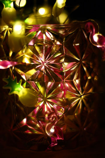 Close-up of illuminated christmas lights