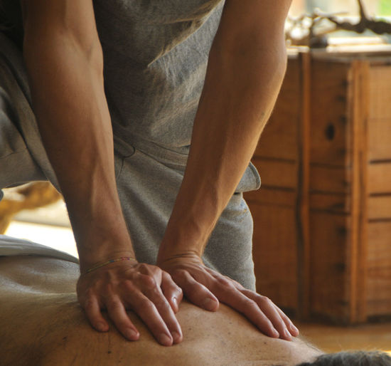 Midsection Of Therapist Massaging Man At Spa