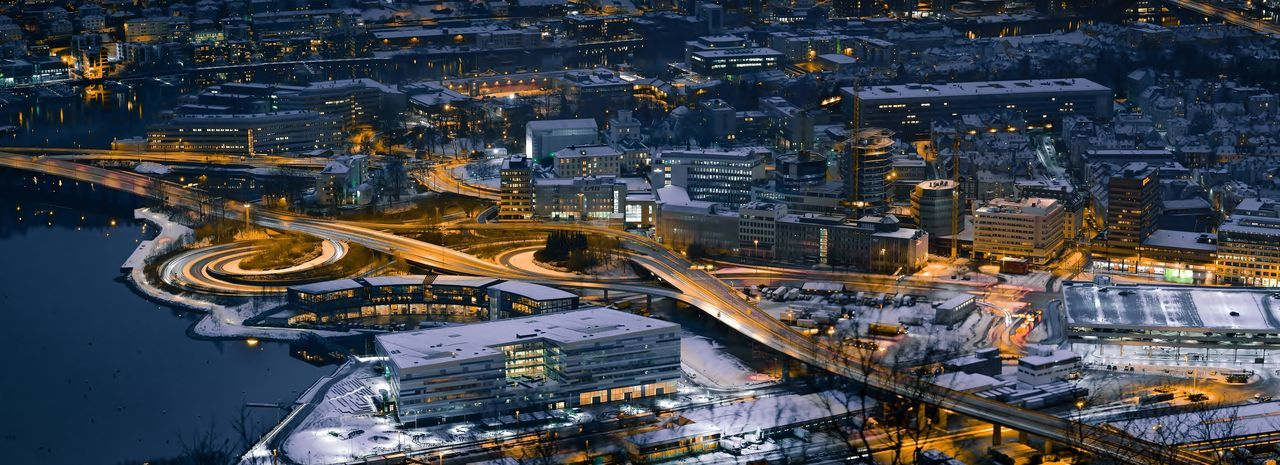 Nygårdsbroen at night in winter, Bergen, Norway Bergen Central Bergen Norway Nygårdsbroen Bridge Aerial View Architecture Built Structure City City Lights Cityscape Complexity High Angle View Illuminated Industry Night Outdoors Road Transportation