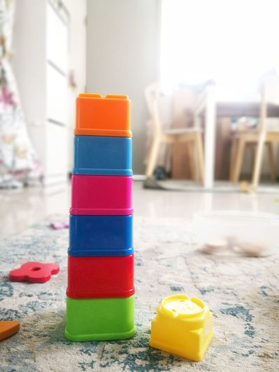 Close-up of toys on table