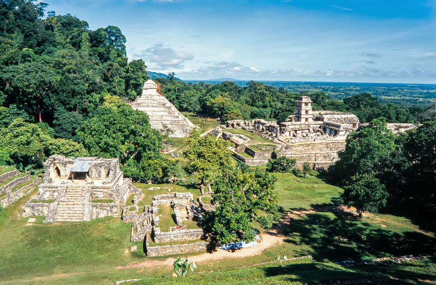 Mayan ruins in Palenque, Chiapas, Mexico. Aerial Panorama of Palenque archaeological site Ancient Architecture Chiapas City Mayan Ruins Mexico Pyramid Ruins Travel UNESCO World Heritage Site America Ancient Civilization Forest Heritage Jungle Palenque Stone Temple Tourism Travel Destinations
