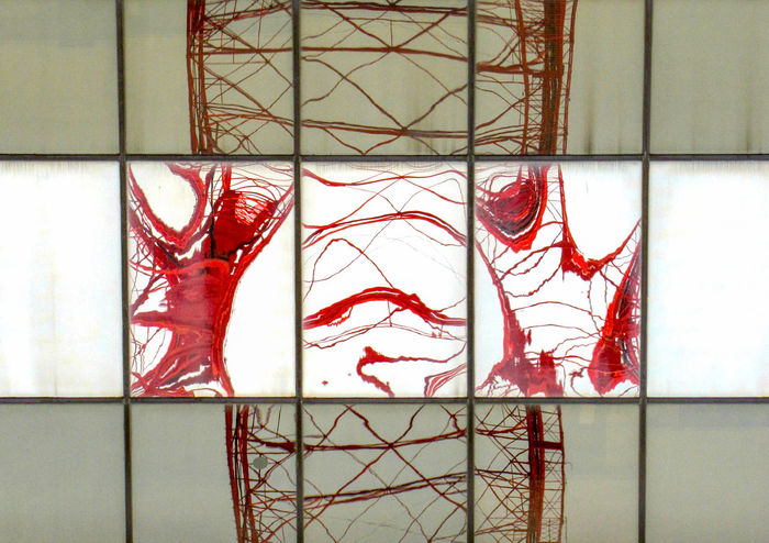 Red Reflection Abstract Architecture Art And Craft Backgrounds Built Structure Close-up Creativity Day Decoration Design Glass - Material Metal No People Pattern Red Representation Tile Wall - Building Feature Window