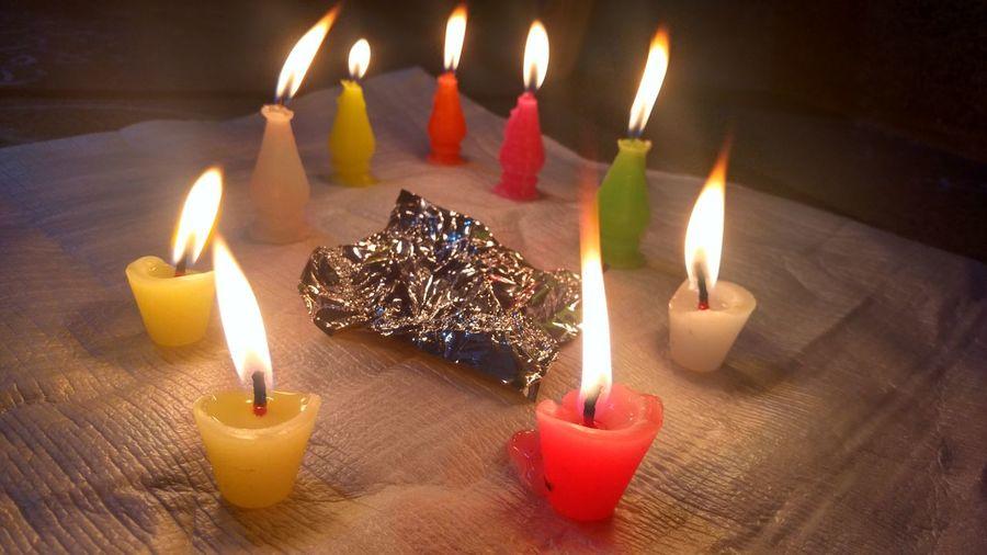 Close-up of burning candle