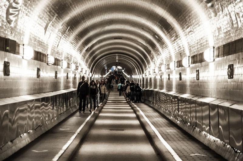 People walking in subway station