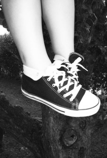 Feet in the tree Black And White Casual Clothing Close-up Feet Focus On Foreground Lifestyles Outdoors Part Of Shoes Black And White Collection  Blackandwhitephotography Blackandwhite Photography Black & White Black And White Photography Blackandwhite Black&white