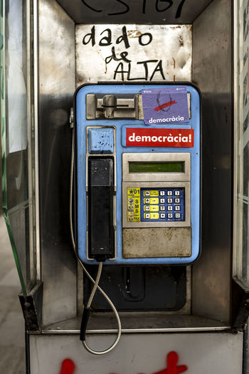 phone number: d-e-m-o-c-r-a-c-i-a Barcelona Catalunya Democracy SPAIN The Week on EyeEm Communication Dado De Alta Democracia Old-fashioned Pay Phone Retro Styled Telephone Who Is Going To Call