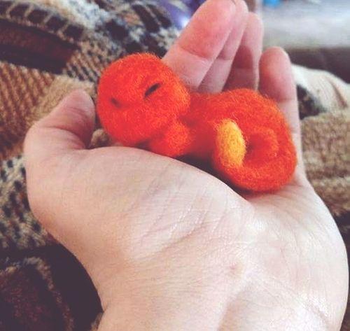 Pokémon Charizard Pogo Videogames Needle Felted Needle Felting Craft Wool Human Hand Holding Stuffed Toy People Close-up Indoors