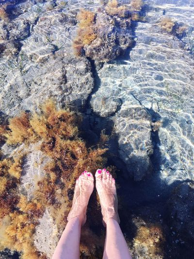 Low section of woman legs at shore