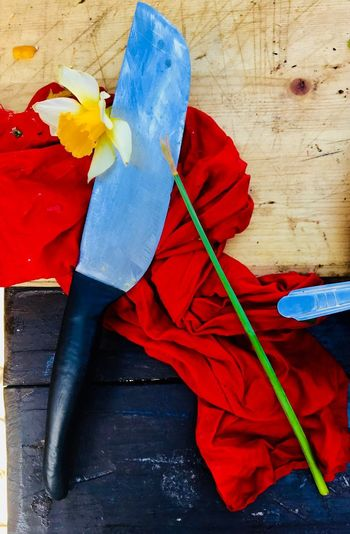 Краски кухни Russian Spring весна_порусски веснаидет яркие краски нож Red Art And Craft Creativity Blue Still Life Close-up No People Wood - Material Multi Colored Indoors  Craft Table Textile High Angle View