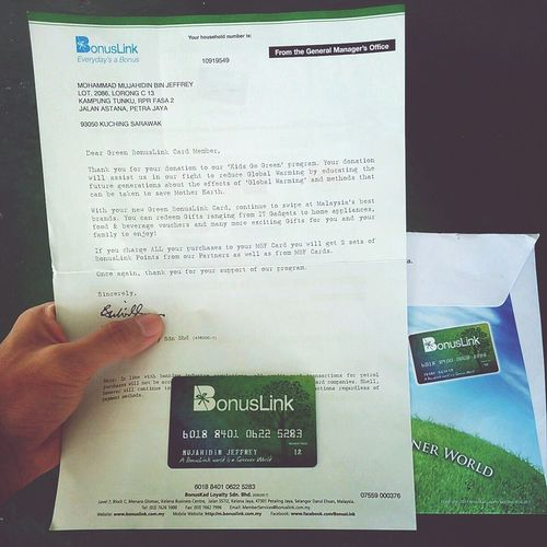 Just Arrived Green Bonuslink Card