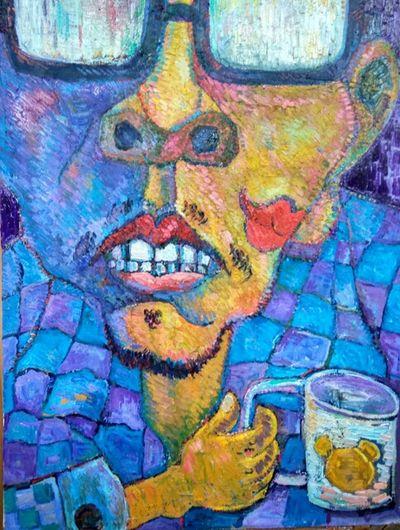 深夜独坐 Art And Craft Multi Colored Graffiti Paint Full Frame Blue Close-up