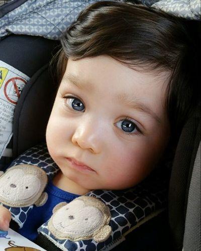 He's got the pouty face down already.. Danieljr BlueEyes Babyboy PoutyFace Adorable