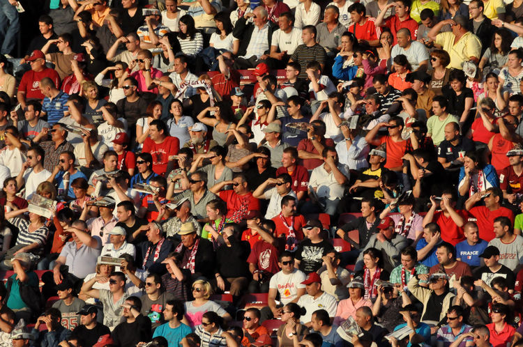 Crowd of people in a stadium at a football match Audience Competition Crowd Crowd People Crowded Crowded People Day Euphoria Fans Football Football Fever Football Stadium Hooligans Large Group Of People Men People Raised Hands Soccer Sport Stadium Stadium Atmosphere Supporters Togetherness Tribune Women