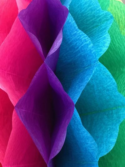 Colorful paper Artificial Flowers Handmade Pink Green Blue Decoration Papel Papercraft Full Frame Purple No People Fragility