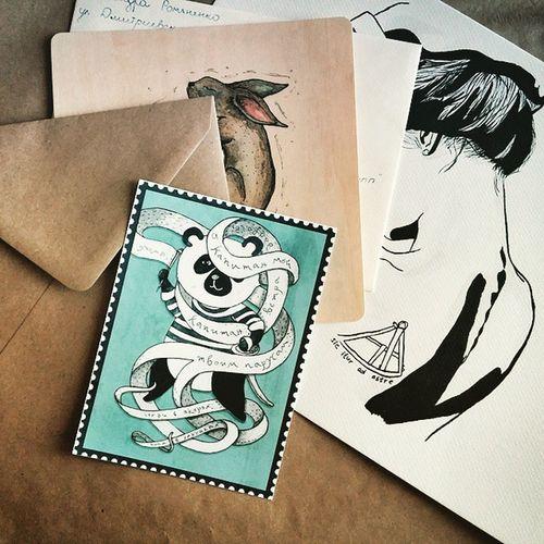 Сегодня в почтовом ящике нашла красивую открытку от Даши @kabacya 🐼💬 Дашенька, спасибо😘 Cards Postcards открытки панда капитан Panda Kraft крафт конверты Envelopes Kraftenvelopes Sicituradastra Rabbit Hare Greyhare Sextant