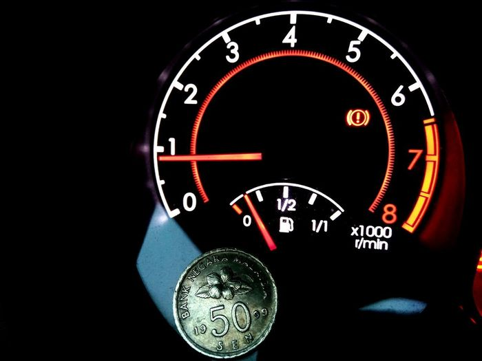 coin on fuel meter Fuel Meter Gas Price Fuel Price Buying Selling Coin Currency MYR Ringgit Clock Face Gauge Speedometer Minute Hand Technology Number Dashboard Close-up Dial Meter - Instrument Of Measurement The Still Life Photographer - 2018 EyeEm Awards