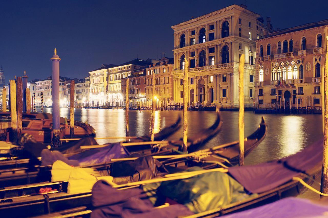 Venice Italy Travel Destinations Palace Night Architecture Arts Culture And Entertainment Illuminated Sky Gondola - Traditional Boat Outdoors City EyeEmNewHere