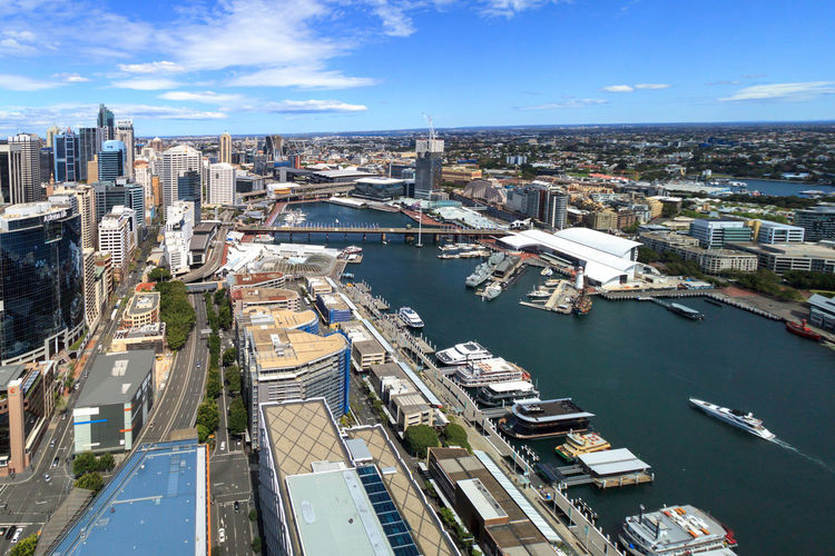 Darling Harbour from 40 floors up Aerial View Architecture Building Exterior Built Structure City Cityscape Day Harbor High Angle View Nature Nautical Vessel No People Outdoors River Sky Transportation Water