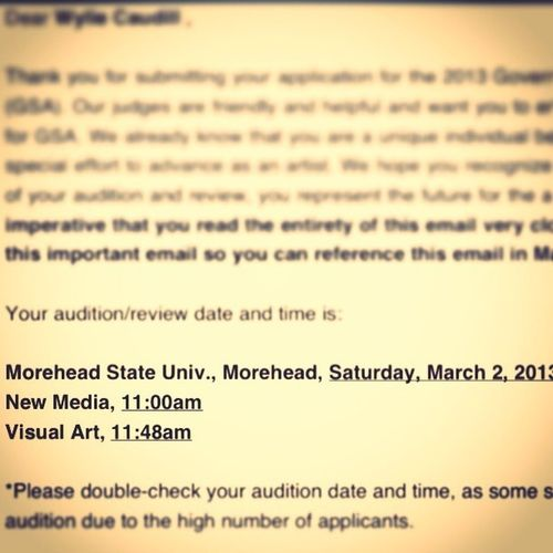 Made First Cut For GSA! Time To Audition!