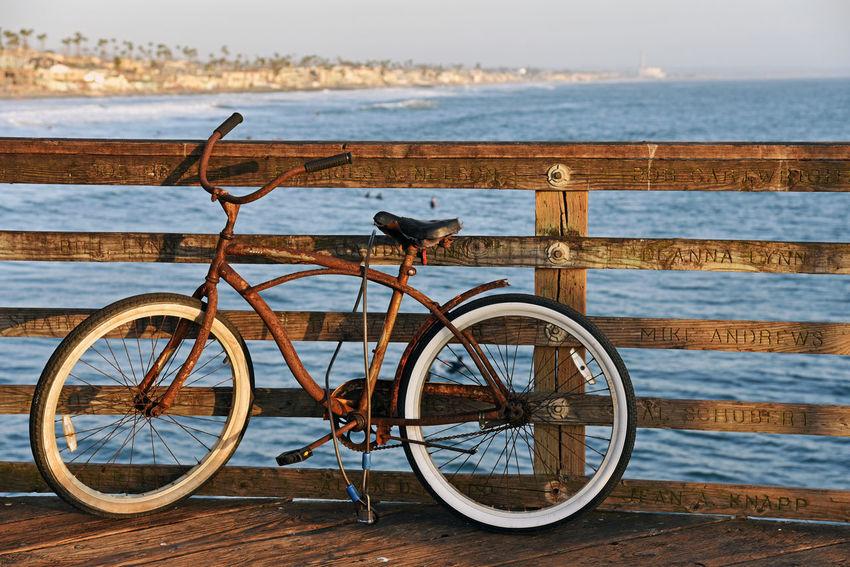 Rusty bike on the Oceanside pier in California. California Oceanside Pier Beach Bicycle Bike Coast Mode Of Transportation Ocean Rusty Transportation Water