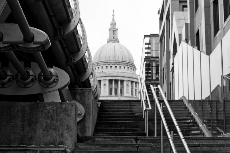 St Paul's Cathedral London Architecture Low Angle View St Paul's Urban Ground Level View City Politics And Government Cityscape Dome Government Urban Skyline Place Of Worship Architectural Column Steps Sky Steps And Staircases Hand Rail Façade Historic Stairway Place Of Interest