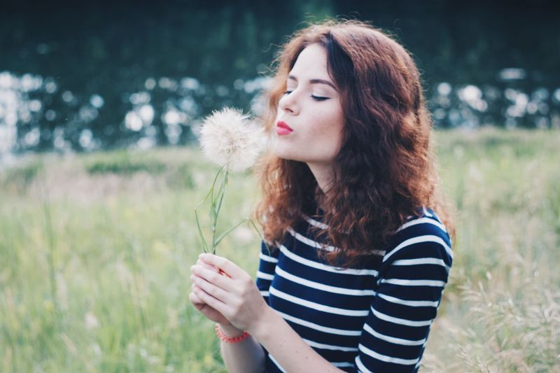 Focus On Foreground Casual Clothing Long Hair Standing Young Women Field Young Adult Beauty Holding Person Outdoors Growth Day Nature Tranquility Remote girl dandelion
