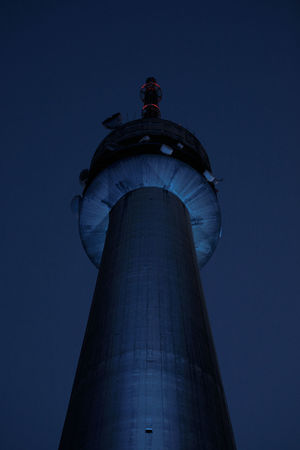 Tv Tower, Gaia, Portugal Concret Structure Portugal TV Tower Architecture Authority Blue Building Exterior Built Structure City Clear Sky Concret Evening Low Angle View Night No People Outdoors Sky Tower