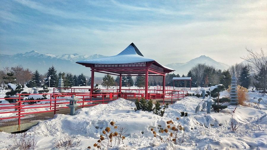Built structure on snow covered landscape against sky