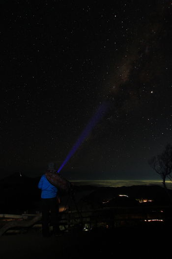 Rear view of man standing against star field at night. milky way