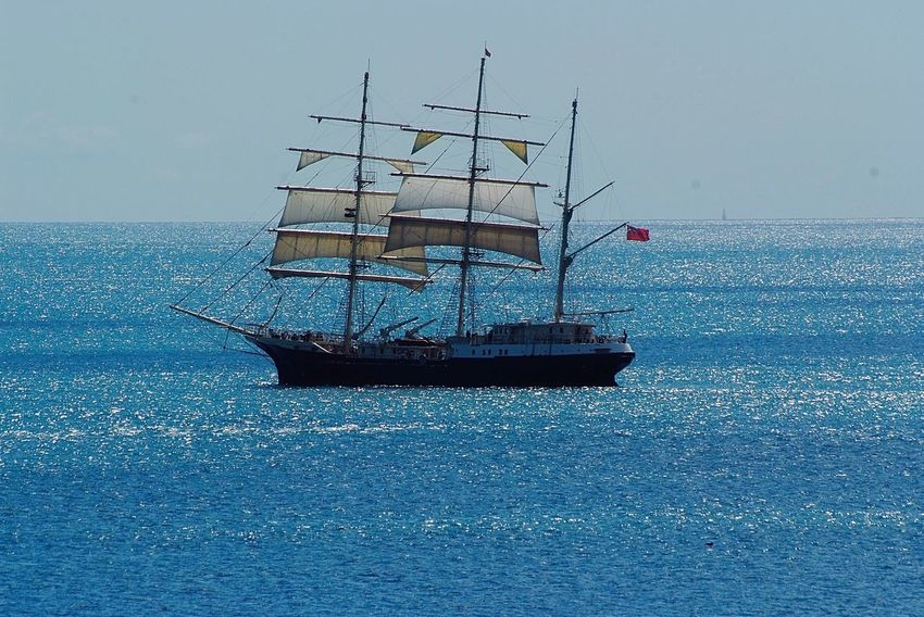 Old sailing ship in Swanage Bay Sea Nautical Vessel Transportation Water Mode Of Transport No People Outdoors Sailboat Horizon Over Water Nature Day Blue Beauty In Nature Mast Scenics Sailing Sky Sailing Ship Swanage Bay Old Sailing Ships Dorset Coast Dorset,England Uk