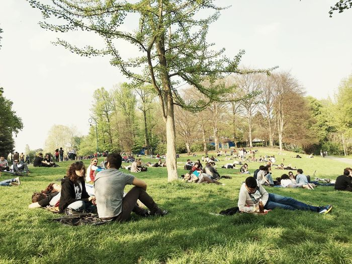 People at park against sky