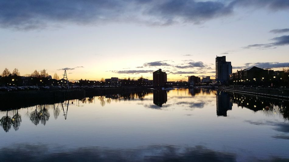 Sunset at Salford Quays Reflection Sunset Cloud - Sky Outdoors Sky Water No People City Tree Nature Day Manchester UK Salford Quays Salford Salford University