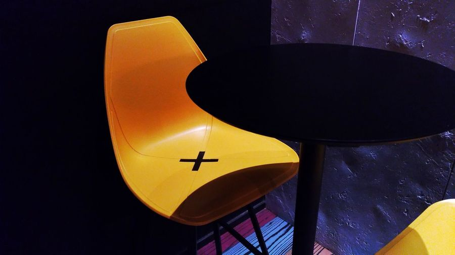 Illuminated Night No People Chair Alone X Seat Indoors  Yellow