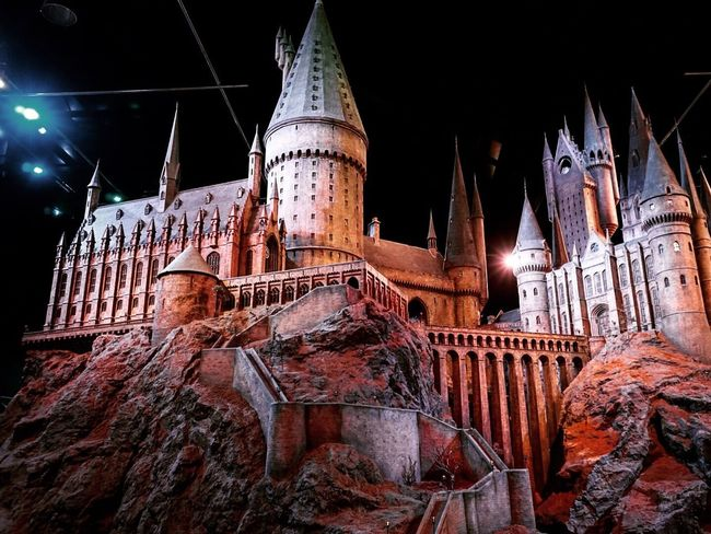 Hogwarts Low Angle View Religion Spirituality Place Of Worship Night Illuminated Sky Church Outdoors Architectural Feature No People Spire  Hogwarts Express Hogwarts School Of Witchcraft And Wizardry Harry Potter Harry Potter Studios