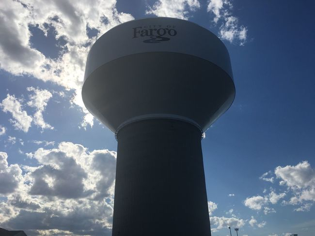 Architecture Cloud - Sky Communication Day Fargo Low Angle View No People North Dakota Outdoors Sky South Fargo Storage Tank Sunlight Text Water Tower - Storage Tank