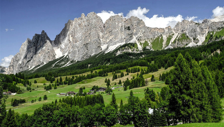 Dolomites, Italy Landscapes With WhiteWall Monte Christallo Nature Photography Beauty In Nature Blue Sky Day Dolomites South Tyrol Südtirol Grass Green Color Landscape Light And Shadow Mountain Mountain Range Nature Nature_collection No People Outdoors Peak Range Scenics Sky Snow Tranquility Tree